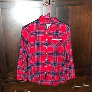 Girls Red Flannel Plaid Button down shirt